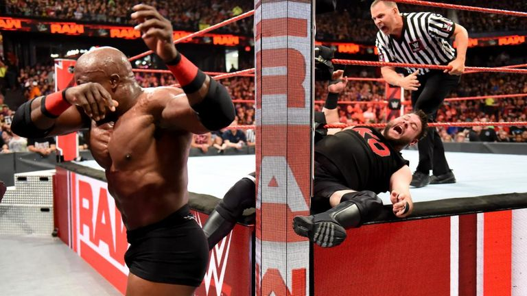 Kevin Owens' knees were injured in storyline during a post-match attack angle with Bobby Lashley