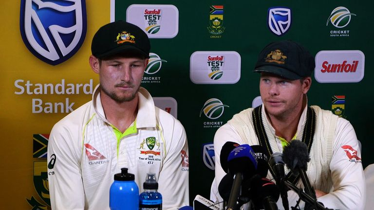 Cameron Bancroft and Steve Smith face the media after being accused of ball-tampering in March 2018
