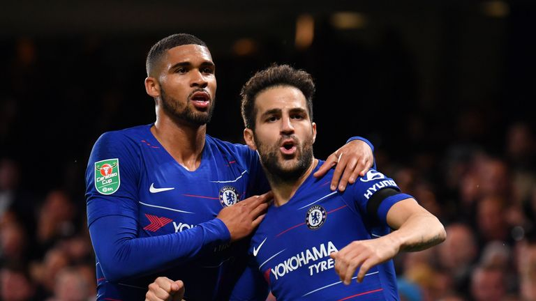 Cesc Fabregas of Chelsea celebrates with team-mate Ruben Loftus-Cheek