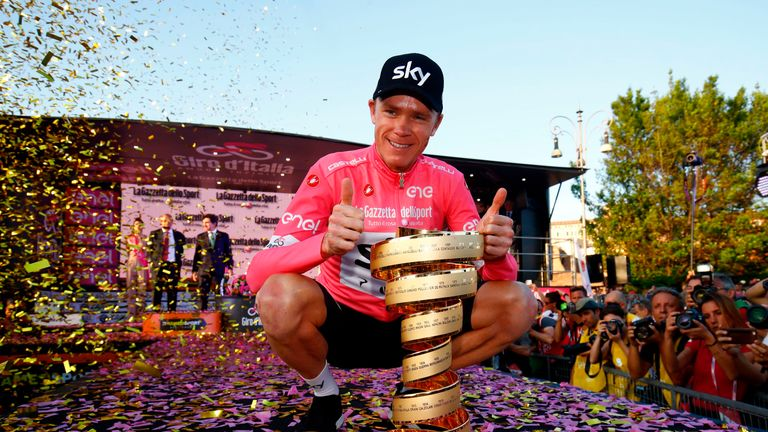 Froome held all three Grand Tour titles at the same time after his Giro d'Italia victory in 2018