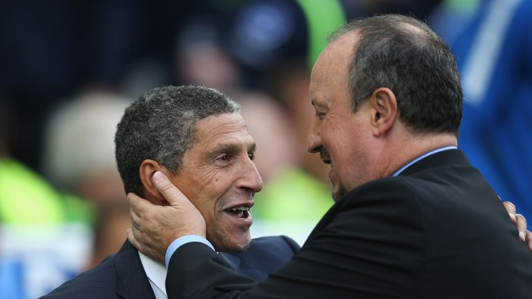 Chris Hughton (left) takes his Brighton side to Newcastle on Saturday
