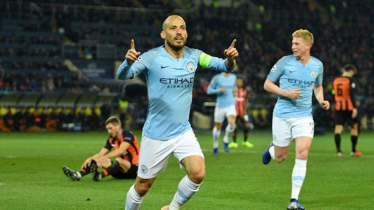 David Silva opened the scoring for Manchester City in Ukraine