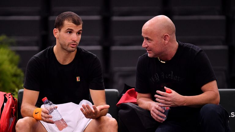 Grigor Dimitrov will be joined by Andre Agassi in a coaching role at the Paris Masters