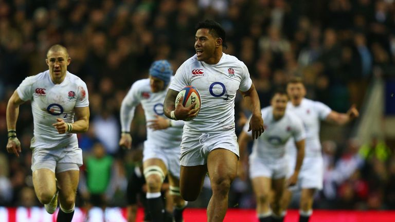 England's Tuilagi races through the New Zealand defence during their clash at Twickenham in 2012