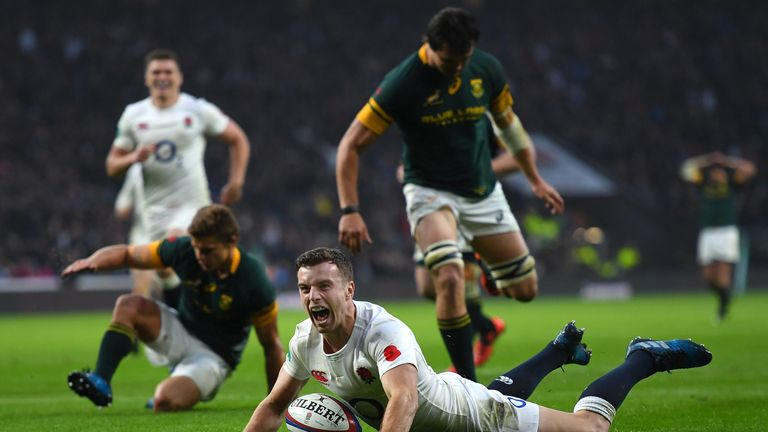 George Ford scoring for England against South Africa at Twickenham in 2016