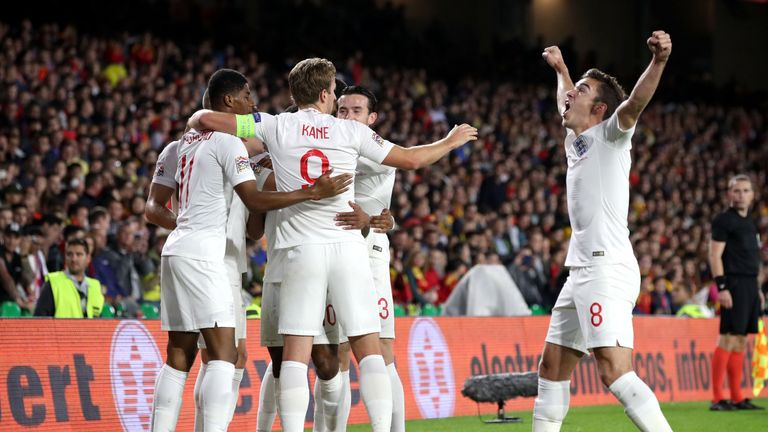 England's Raheem Sterling celebrates scoring his first goal of the game during the Nations League match against Spain