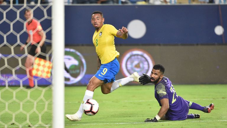 Manchester City's Gabriel Jesus scored Brazil's first goal shortly before the break