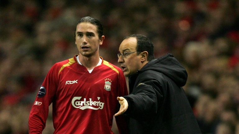 Kewell with his former boss at Liverpool Rafa Benitez