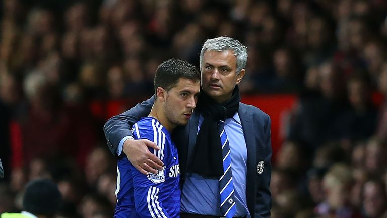 Eden Hazard with Jose Mourinho