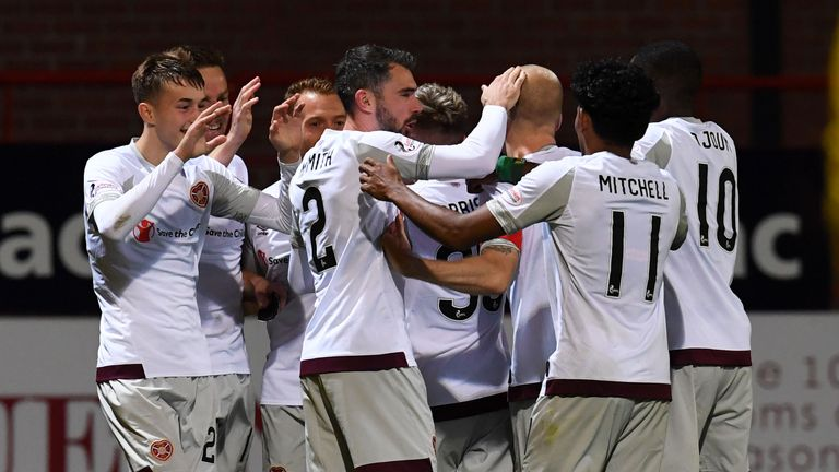 Hearts celebrate netting their third goal against Dundee