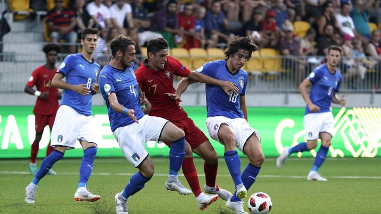 Tonali helped Italy's U19s to the final of the 2018 Euros