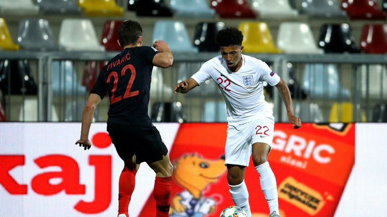 Jadon Sancho came off the bench to make his England debut in Croatia
