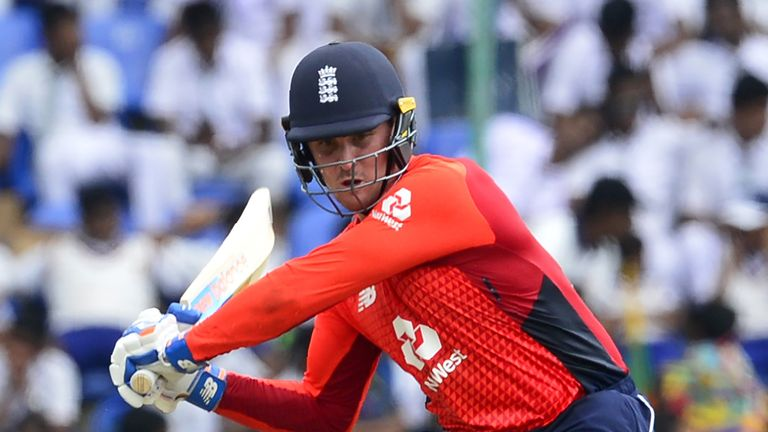 England cricketer Jason Roy plays a shot during the fourth one day international (ODI) cricket match between Sri Lanka and England at the Pallekele International Cricket Stadium in Kandy on October 20, 2018.