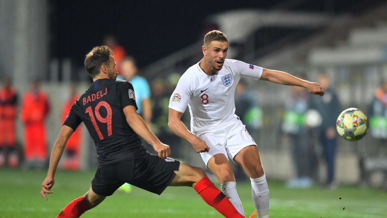 during the UEFA Nations League A Group Four match between Croatia and England at Stadion HNK Rijeka on October 12, 2018 in Rijeka, Croatia. The match is due to be played behind closed doors.