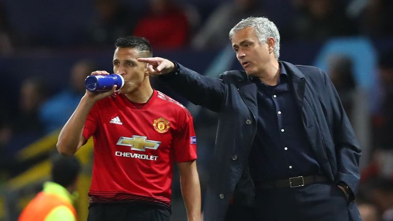 Mourinho and Alexis Sanchez discuss tactics