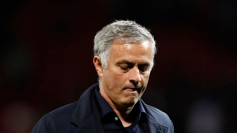 Manchester United manager Jose Mourinho during the UEFA Champions League, Group H match against Valencia at Old Trafford