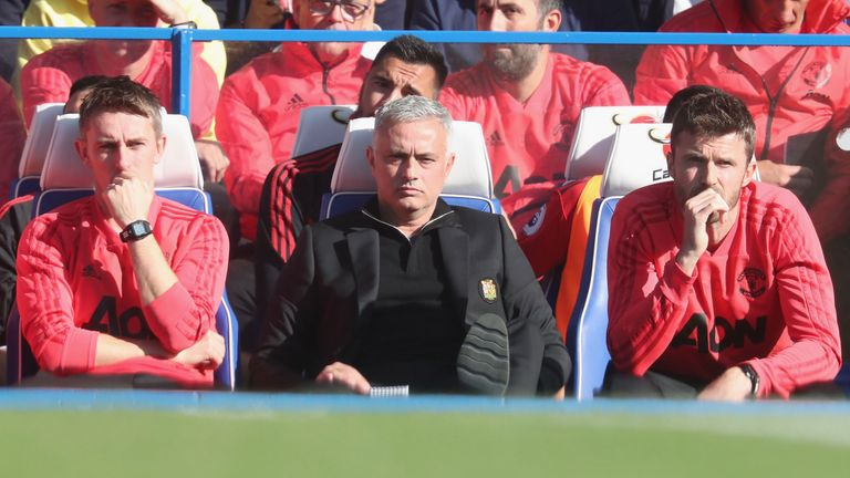 Jose Mourinho during the Premier League match between Chelsea and Manchester United at Stamford Bridge