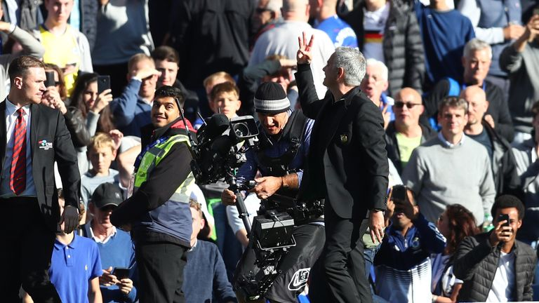 Jose Mourinho gestures towards Chelsea fans during his return to Stamford Bridge as Man Utd boss