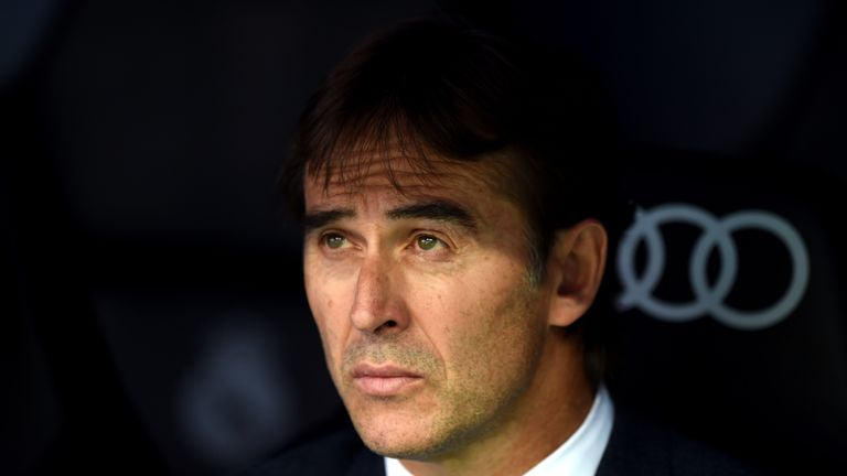 Real Madrid manager Julen Lopetegui during the La Liga match against Levante at Estadio Santiago Bernabeu
