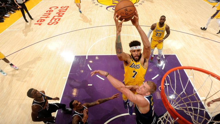 JaVale McGee #7 of the Los Angeles Lakers dunks the ball against the Denver Nuggets on October 25, 2018 at STAPLES Center in Los Angeles, California.