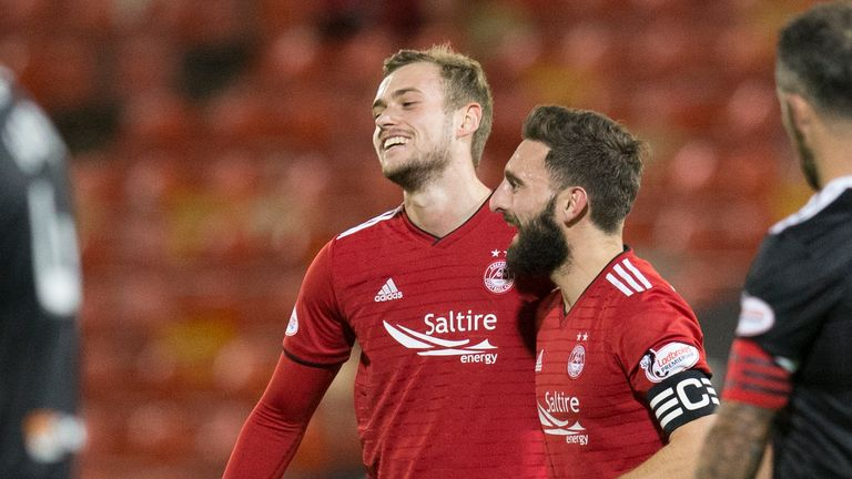 Aberdeen's James Wilson celebrates making it 2-0 against Hamilton