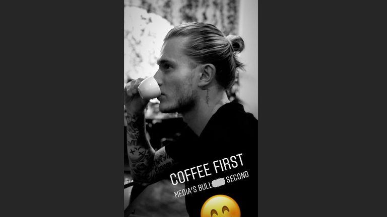 Loris Karius' post on his Instagram story (@lorisk21)