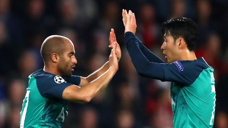 Lucas Moura and Heung-Min Son celebrate Tottenham's equaliser against PSV