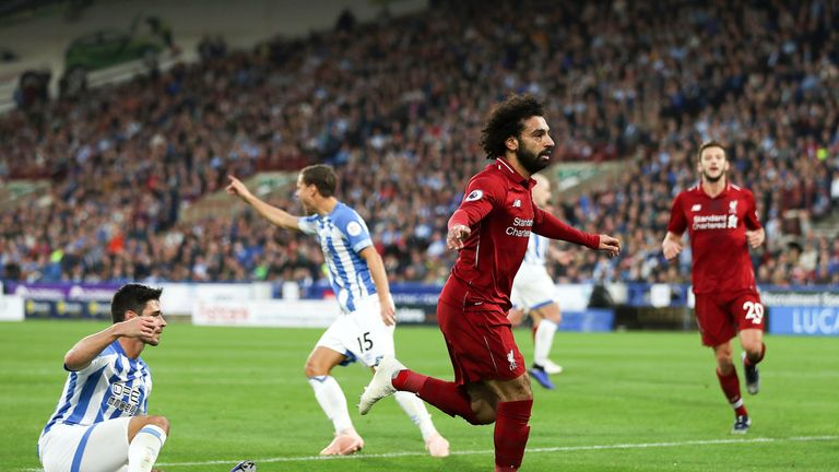 Mohamed Salah celebrates after scoring the opening goal at the John Smith's Stadium