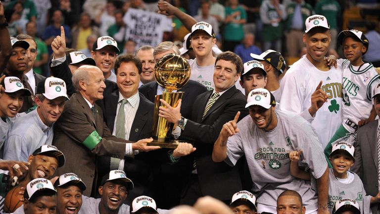 The Boston Celtics celebrating their last NBA title in 2008