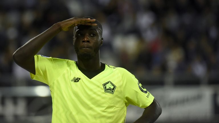 Nicolas Pepe celebrates scoring for Lille