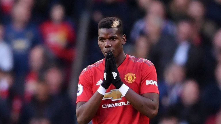 Paul Pogba during the Premier League match between Manchester United and Newcastle United at Old Trafford on October 6, 2018 in Manchester, United Kingdom.