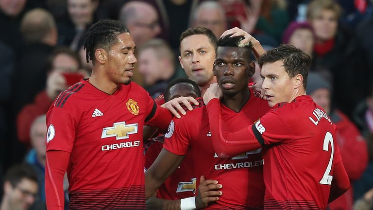 Paul Pogba put Manchester United ahead after scoring the rebound from his saved penalty