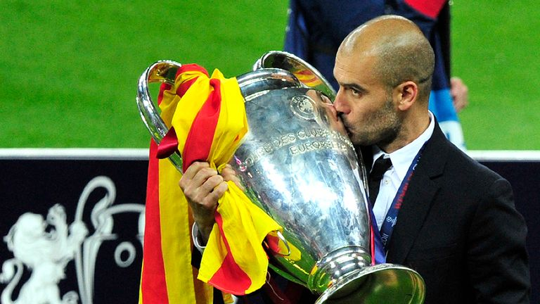 Guardiola won two Champions League titles with Barcelona in four seasons