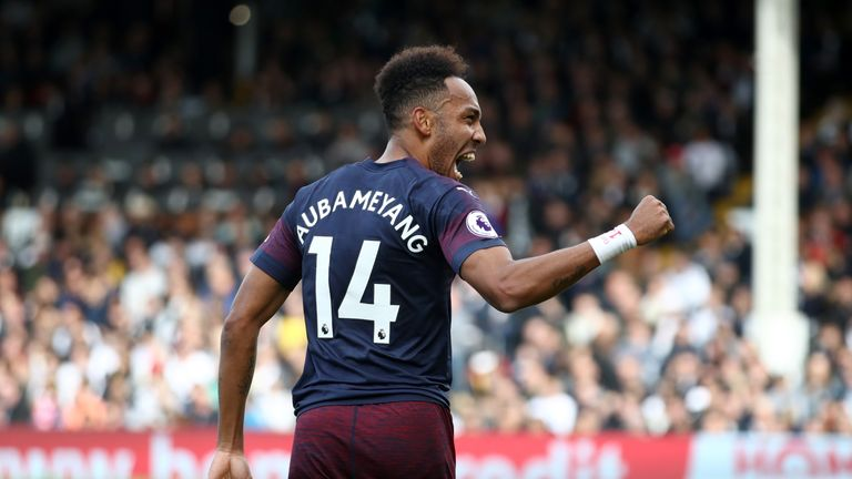 Aubameyang came off the bench to score twice against Fulham