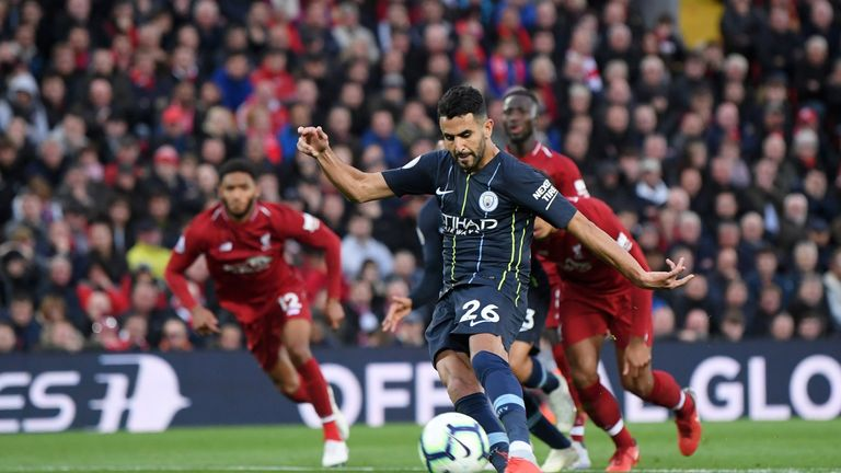 Riyad Mahrez missed a penalty as Man City drew with Liverpool
