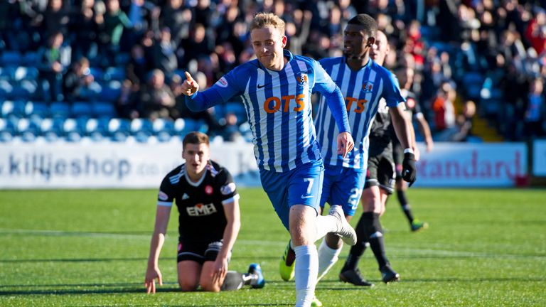 Rory McKenzie celebrates his equaliser for Kilmarnock