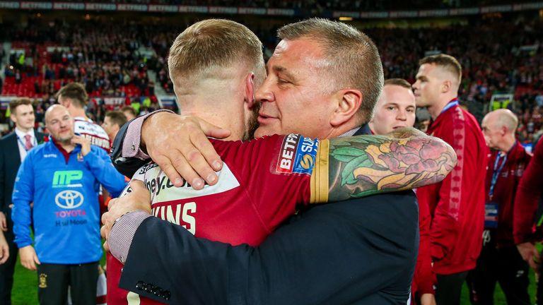 Wane celebrates the win with Sam Tomkins