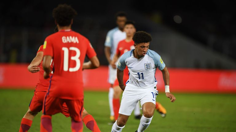 England new-boy Jadon Sancho was part of the U17 World Cup-winning side