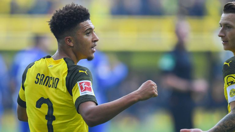 Jadon Sancho scored twice as Borussia Dortmund were held at home