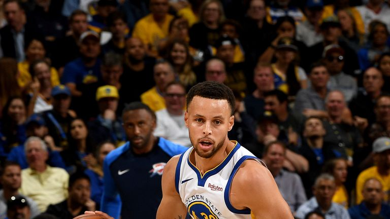Stephen Curry #30 of the Golden State Warriors handles the ball against the Oklahoma City Thunder during a game on October 16, 2018 at Oracle Arena in Oakland, California