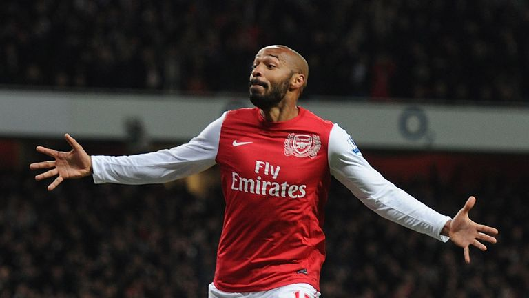 Henry celebrates scoring for Arsenal during his second stint at the club
