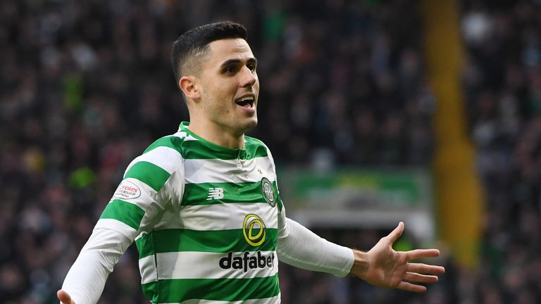 Celtic's Tom Rogic celebrates making it 1-0