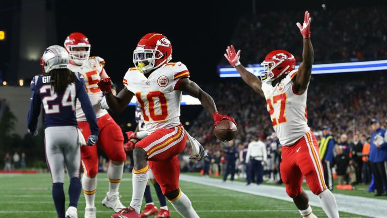 Tyreek Hill caught seven passes for 142 yards and three touchdowns against the Patriots earlier this season