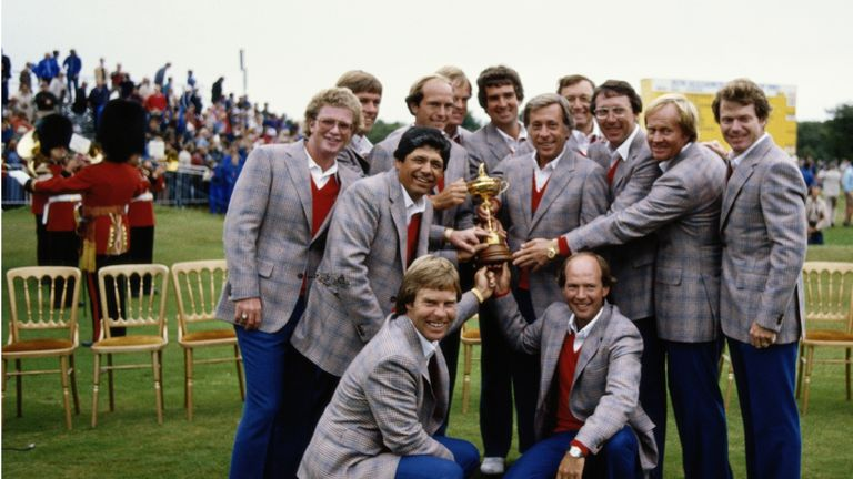 The American Ryder Cup team of 1981 celebrate their win at Walton Heath