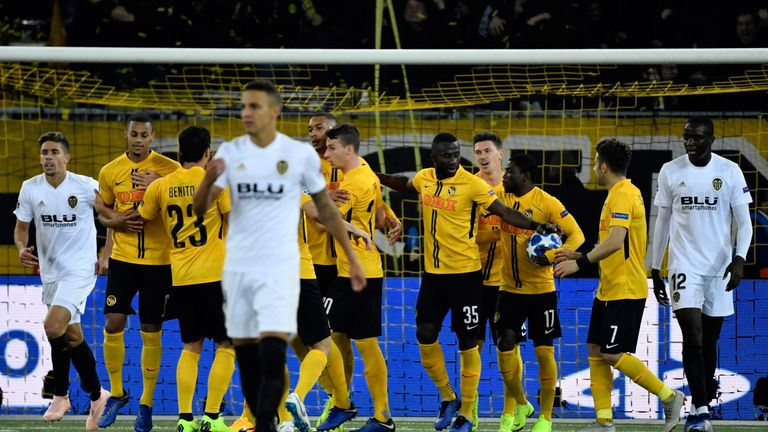 Young Boys celebrate scoring against Valencia