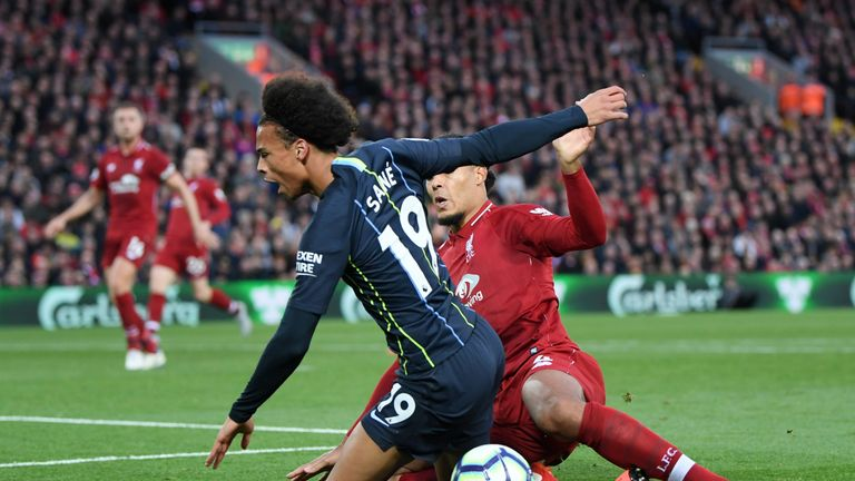Virgil Van Dijk fouls Leroy Sane on the penalty area
