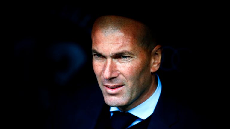 Zinedine Zidane during the La Liga match between Real Madrid and Celta Vigo at the Santiago Bernabeu on May 12, 2018