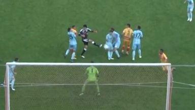 Yuji Rokutan nods the ball into the net to salvage a 3-3 draw