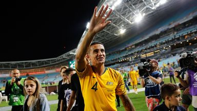 Tim Cahill waves to fans after his retirement from international football