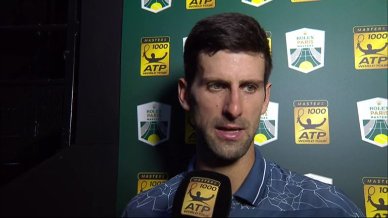 Novak Djokovic said his Paris Masters semi-final against Roger Federer was the best he has ever played against the Swiss